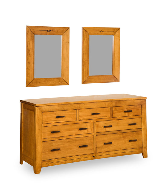 Addison 7 drawer dresser shown in Brown Maple/Malaguania with double mirror set