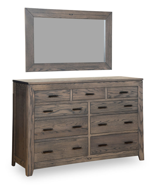 Addison landscape mirror shown in Oak with an Antique Slate stain