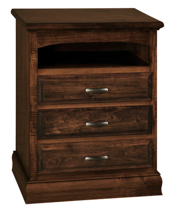 Adrianna 3 drawer nightstand with opening shown in Brown Maple/Coffee