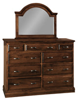 Adrianna 9 drawer dresser shown with mirror in Brown Maple/Coffee