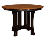 "Arts & Crafts 48"" round pub table shown in 1/4 Sawn White Oak with a 2-tone finish"