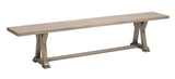 Arvada Dining Bench shown in Oak/Brushed Sandstorm with a low sheen finish