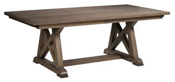 Arvada Trestle table shown in Oak/Brushed Sandstorm with a low sheen finish