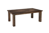 Ashton table shown in barnwood top with red oak base