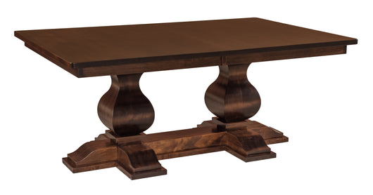 Barrington Double Pedestal Table shown in Brown Maple with Kona finish