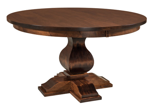 Barrington Single Pedestal table with solid wood base shown in Brown Maple and Asbury