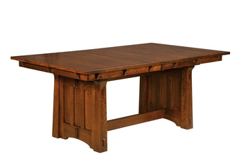 Beaumont Trestle Table shown in 1/4 Sawn White Oak with a Michaels cherry stain