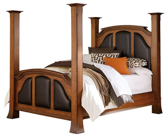 Breckenridge bed shown in 1/4 Sawn White Oak/Michaels burnished edges with Black leather panels