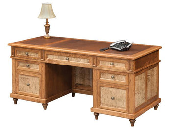 Bridgeport executive desk shown in Cherry/Sealy with Tiger Maple panels