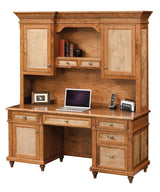 Bridgeport credenza with hutch shown in Cherry/Sealy with Tiger Maple/Natural panels