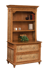 Bridgeport lateral file cabinet with hutch shown in Cherry/Sealy with Tiger Maple panels