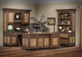 Bridgeport office collection shown in Cherry/Chocolate Spice with Tiger Maple panels