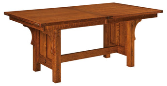 Brunswick Trestle table shown in 1/4 Sawn White Oak with a Michaels stain