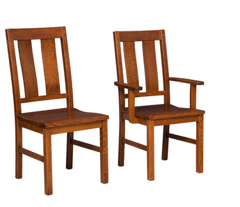 Brunswick side and arm chair shown in 1/4 Sawn White Oak.