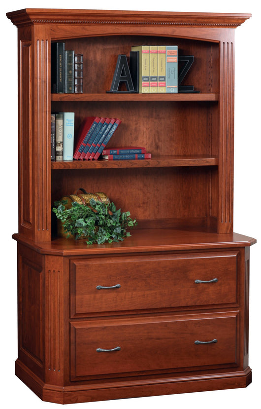 Buckingham lateral file cabinet with hutch shown in Cherry/Washington