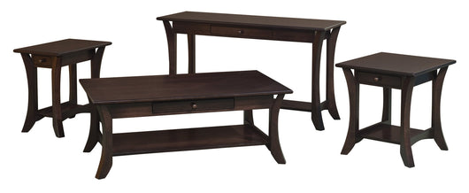 Catalina coffee table, end table, sofa table shown in Brown Maple/Onyx