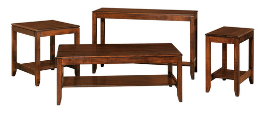 Fairfield coffee table, end tables, sofa tables shown in Brown Maple/Asbury