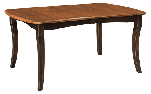 Canterbury Leg table shown with an Elm/Michaels top and Brown Maple/Onyx base