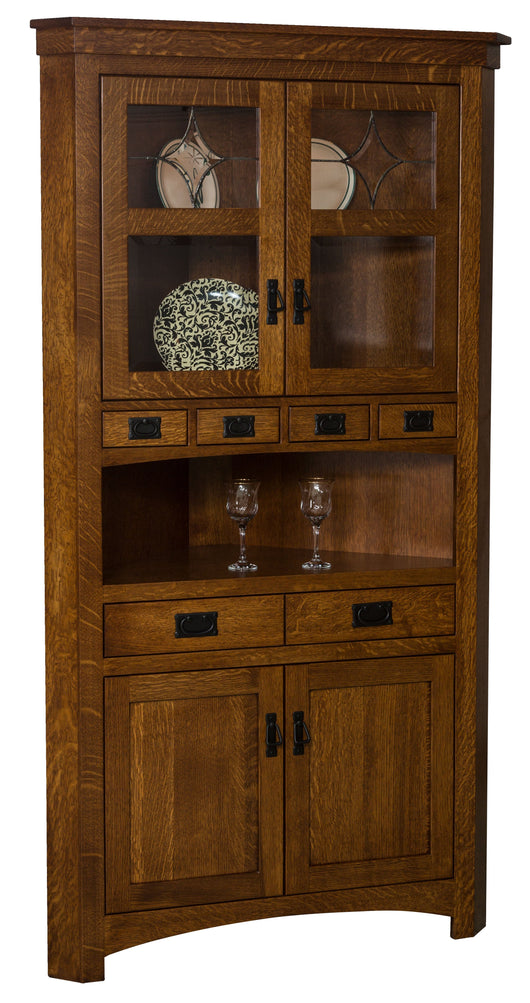 The Cape Code Corner Hutch is shown in 1/4 Sawn White Oak with Michaels Cherry finish