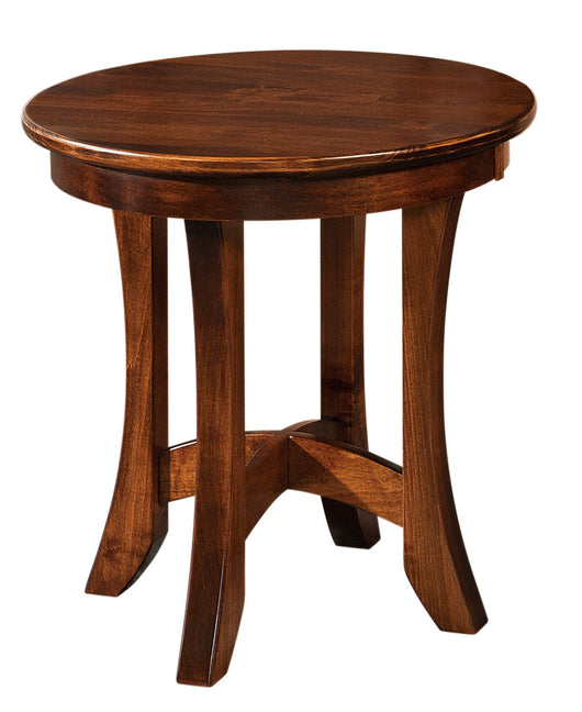 Carona round end table shown in Brown Maple/Asbury