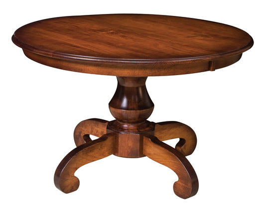 Woodstock Pedestal table shown in Walnut Cherry/New Carrington distressed with a Warm Brown Glaze