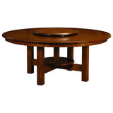 Conner Trestle table shown with optional lazy susan
