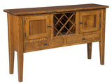 The Connor Sideboard with wine rack is shown in 1/4 Sawn White Oak with a Michaels stain.