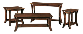 Discovery coffee table, end tables, sofa table shown in Brown Maple/Rich Tobacco