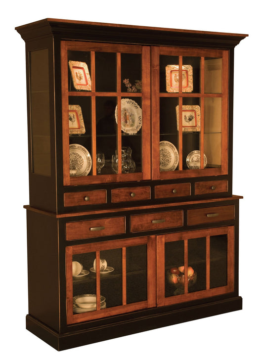 Sherwood hutch shown in Brown Maple/Black rub thru paint with Michaels doors and top