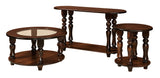 Empire round coffee table, round end table, oval sofa table shown in Brown Maple/ Coffee