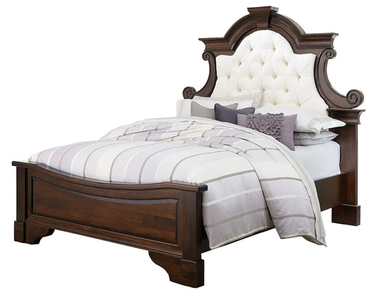 Francine Queen bed shown in Brown Maple/Rich Tobacco with C2-12 Antarctic fabric
