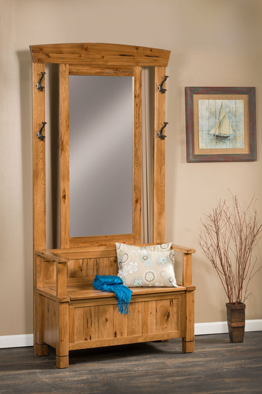 The Greyson Hall Seat has ample storage and appealing style for your home entrance.  Show in Rustic Hickory with FC4562 stain.