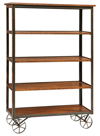 Shown in Clear Powder Coat frame with Reclaimed Oak shelves in a Golden Brown Stain