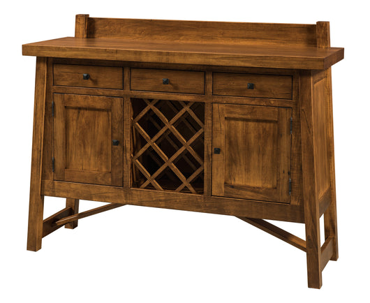 The Hamlet Wine Buffet is shown in Brown Maple with a Sealy stain.