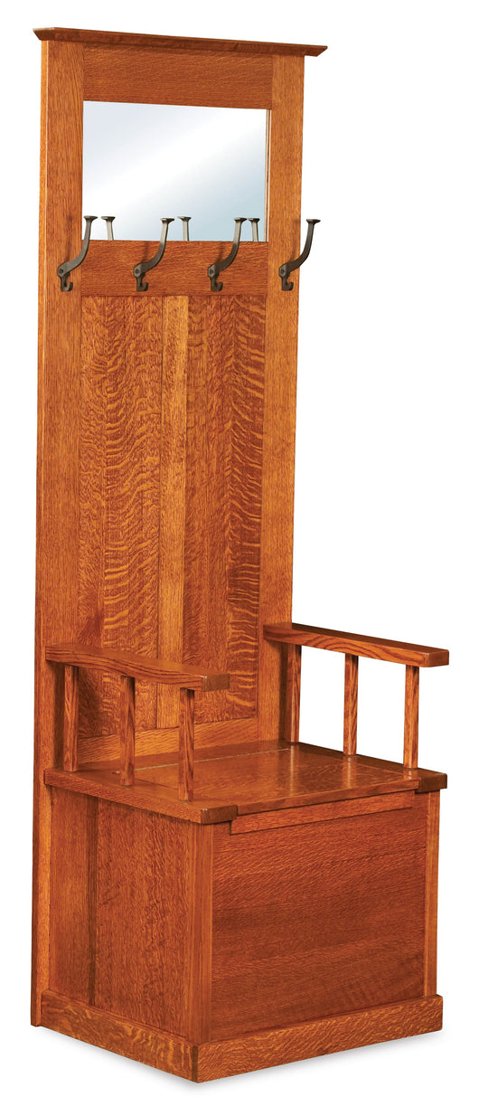 The Heritage Mission Hall Seat is a welcome  entrance organizer.  Shown in 1/4 Sawn Whiite Oak and Michaels finish.