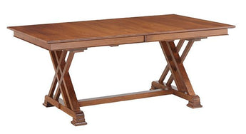Heyerly trestle table shown in Rustic Cherry/Malaguania