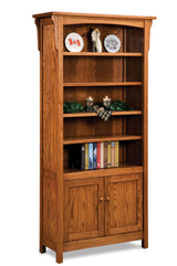 "Bridger Mission 84"" high bookcase with doors shown in 1/4 Sawn White Oak/Michaels"
