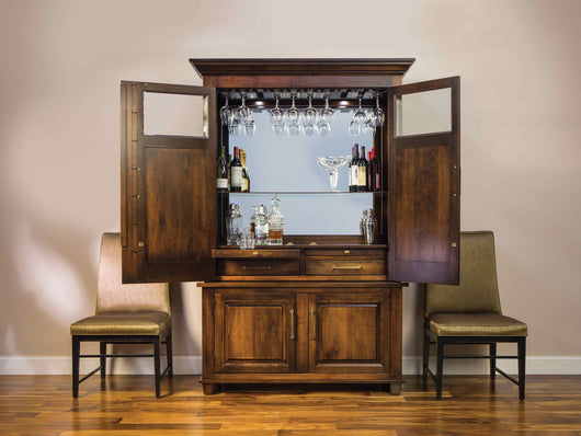 The Imperial Wine Cabinet shown open with mirrored back, storage drawers and slide out trays.