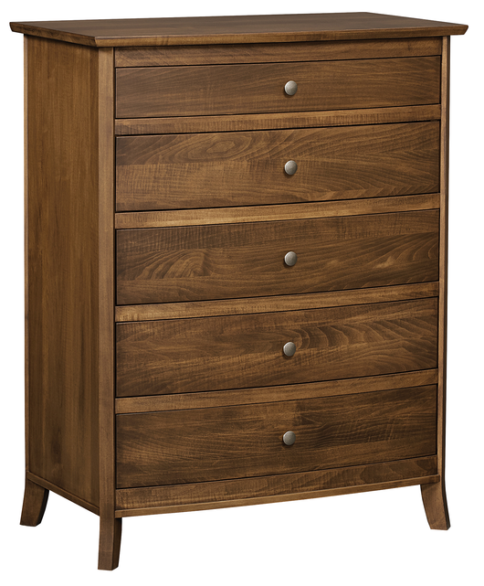 Laurel 5 drawer chest of drawers shown in Brown Maple/Chocolate Spice