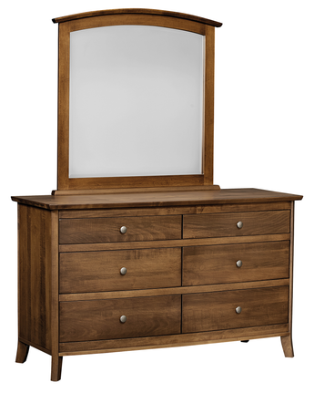 Laurel 6 drawer dresser with mirror shown in Brown Maple/Chocolate Spice