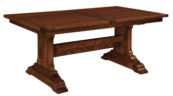 Manchester Trestle table shown in Rustic Cherry/Windsor