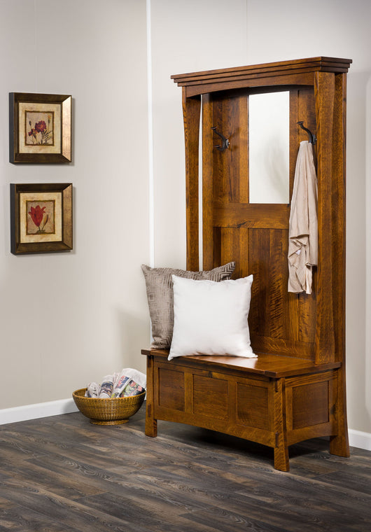 The Modesto Hall Seat will organize your entrance with style.  Shown in Rustic 1/4 Sawn White Oak with a Golden Brown stain