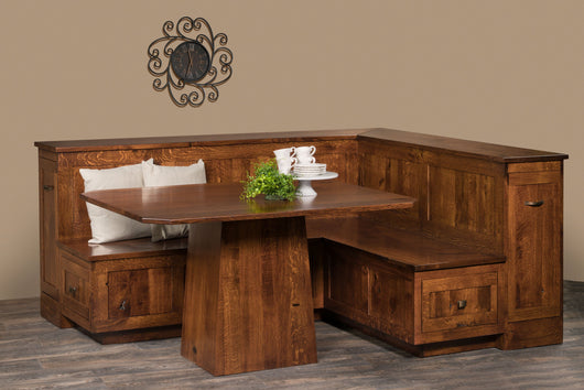 Newport Kitchen and Dining Nook set shown in 1/4 sawn white oak with Tavern stain