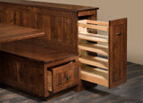 Newport Kitchen and Dining Nook showing bench storage drawer and pull out door with shelves