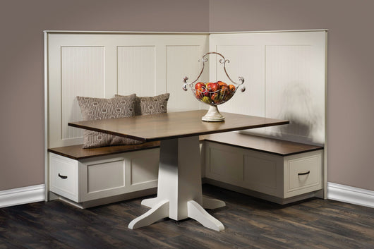 South Haven Kitchen and Dining Nook shown in Brown Maple and finished in Chocolate Spice and Country White paint