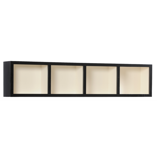Tribecca shelf shown in Maple/Black with a Antique White interior