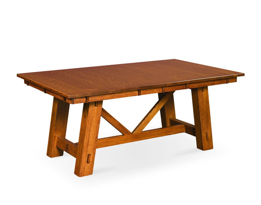 Manitoba Trestle table shown in 1/4 Sawn White Oak/Tavern