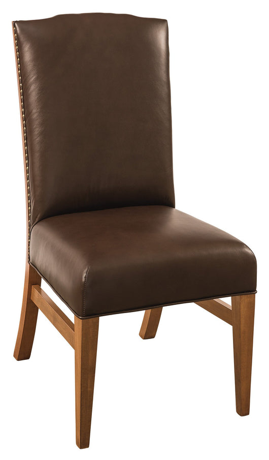 Bow River side chair shown in Brown Maple/Sealy with Mahogany leather
