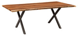 Xavier Live Edge table shown in Rustic Walnut/Natural with a Black powder coated base