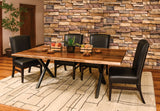 Xavier Live Edge dining room collection shown in Rustic Walnut/Natural